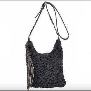 NWT Natural crochet black crossbody bag